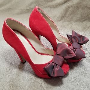 OFFERS WELCOME Topshop Suede Peep toe Sindy Heels